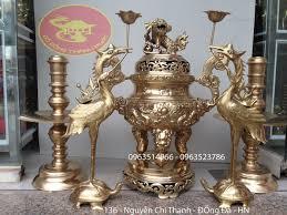 Chiêm ngưỡng bộ đỉnh đồng đẹp ngũ sự đồng vàng chạm rồng nổi